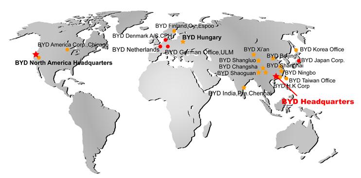 A BYD terjeszkedése világszerte (forrás: BYD)