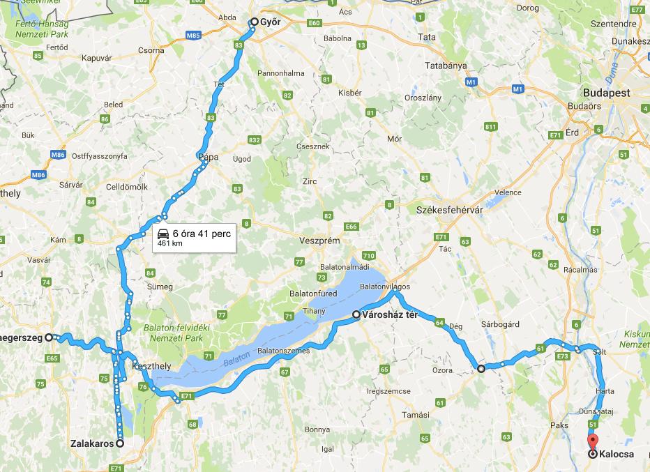 A Totalcar E-TAP2 harmadik napjának útvonala (Az időt a Google hagyományos autóra számolta)