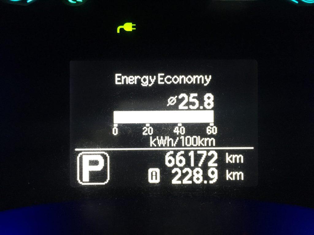 24 kWh-ás LEAF fogyasztása a tesztúton