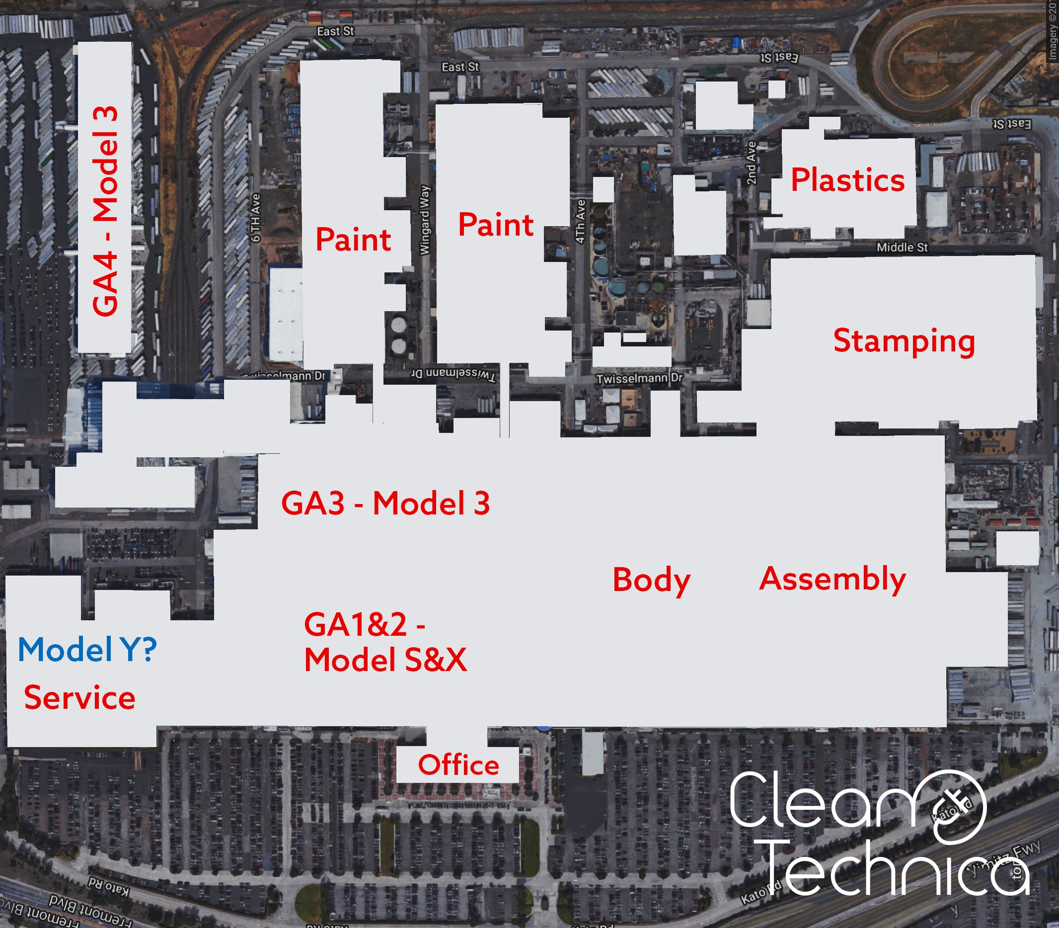 A Tesla fremonti gyárának alaprajza és feltételezett belső gyártási felosztása. Forrás: Cleantechnica